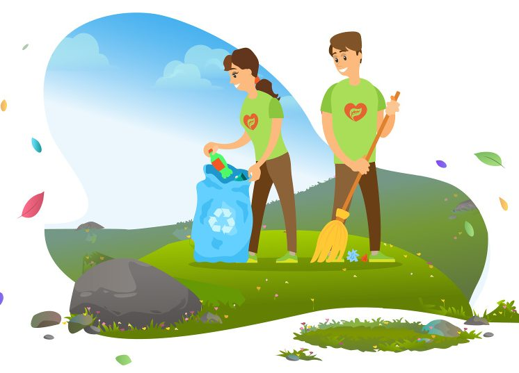Ecology and environment, man and woman, collecting garbage in recycling pin vector. Rubbish and litter reduction, cleaning and waste separation, volunteers. Mountain tourism. Flat cartoon